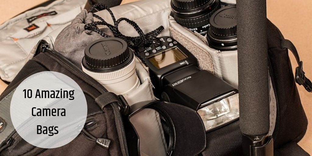 camera and lenses in bag