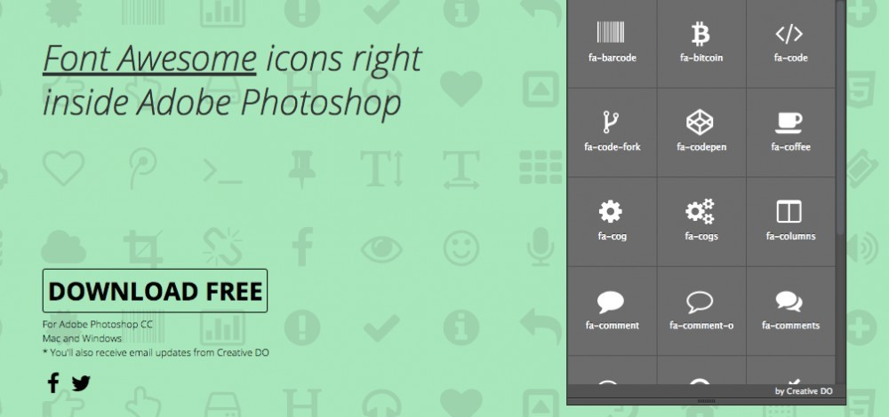 Font Awesome icons for photoshop