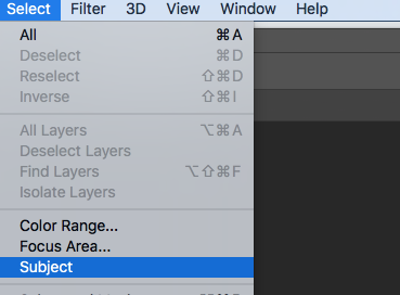 select subject in photoshop